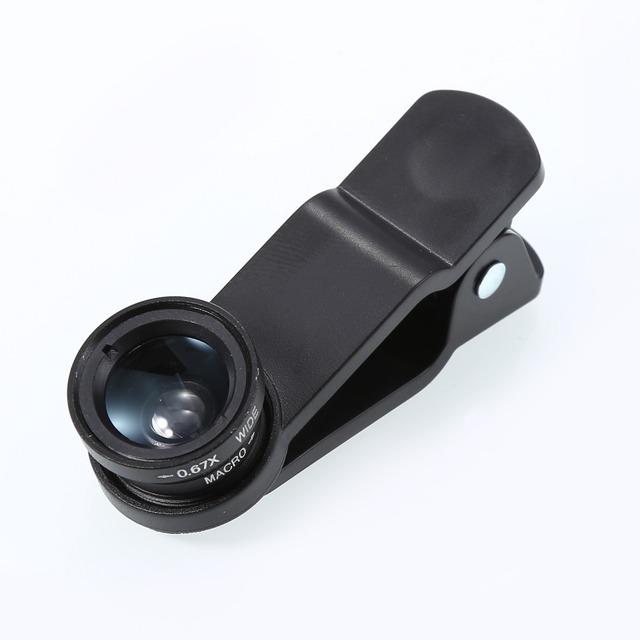 3 in1 Fisheye Lens + Grande Angular + Micro Lens kit câmera para o iphone, htc, samsung smart telefone universal lente clipe preto cor