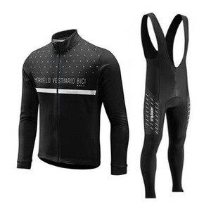 Image 1 - 2018 Morvelo 春サイクリングセットサイクリングジャージビブパンツロング秋ロードバイク自転車服 mtb mallot ropa ciclismo hombre