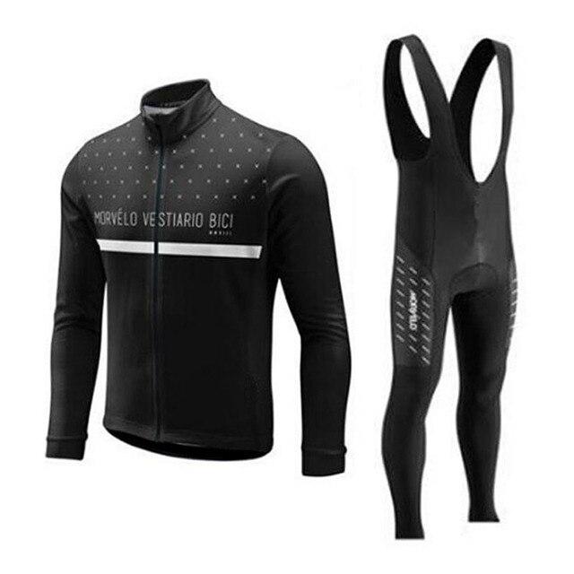 2018 Morvelo 春サイクリングセットサイクリングジャージビブパンツロング秋ロードバイク自転車服 mtb mallot ropa ciclismo hombre