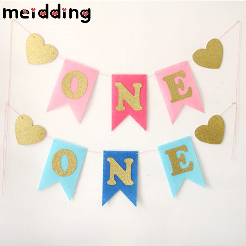 MEIDDING 1set ONE Baby Boy/Girl Birthday Banners Decor Birthday Party Decor Baby Shower Bunting Baby 1 Birthday Supplies