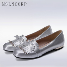 Plus Size 34-47 Fashion Casual Tassel Bow Square Toe Oxford Shoes for Women Flats Comfortable Slip on Woman Shallow Loafers Boat