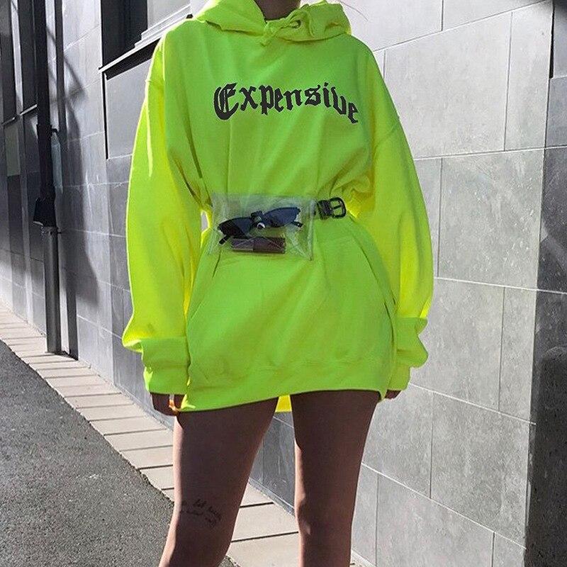 2019 Autumn Warm Casual Women Hoodies Neon Green Loose Hooded Hoodies Letter Print Pockets Long Pullovers Lady Streetwear PL645G