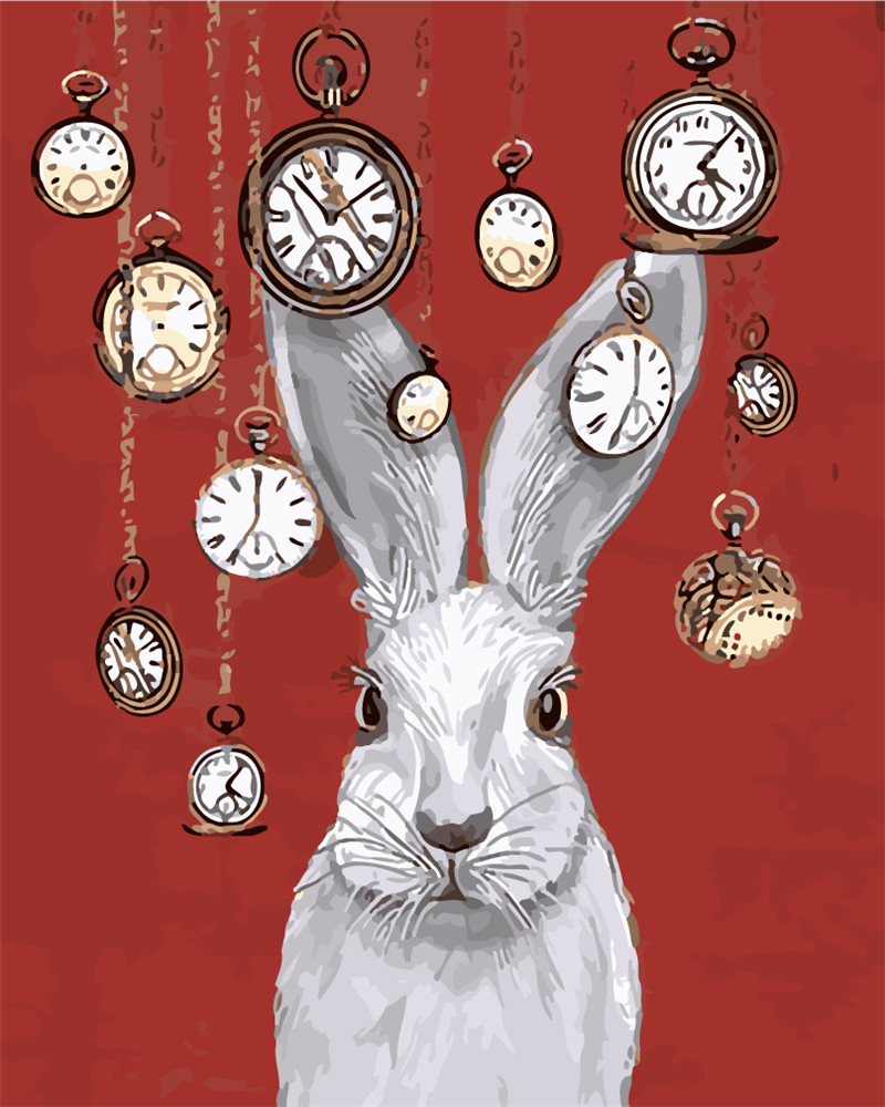 HQ clock time rabbit abstract DIY Painting picture By Numbers Wall Art Home Decor Modern Picture Unique For room Decoration