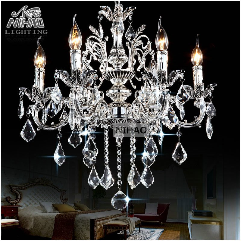 Classic 6 Arms Silver Clear Crystal Chandelier Light Fixture Crystal Lustre Hanging Lamp for Foyer Lobby MD8861 L6 D580mm H600mm