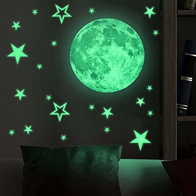 Glow in the Dark Stars with Moon for Ceiling Or Wall