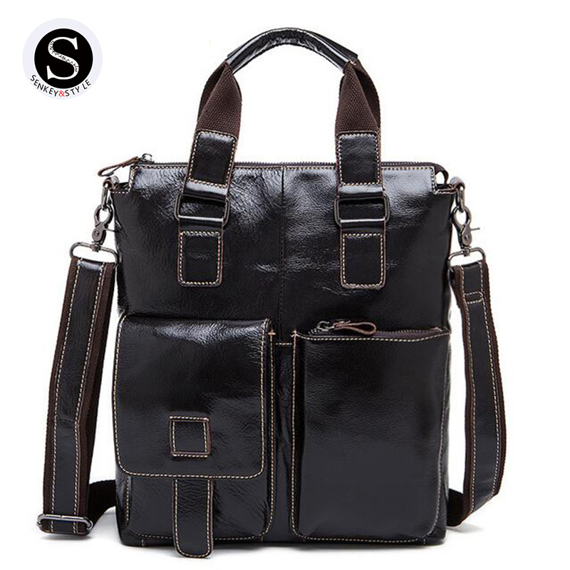 ФОТО Senkey Style Genuine Leather Bags For Men 2017 Designer Handbags High Quality Casual Messenger Business Shoulder Bags For Men
