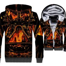 men 3D printed hooded hoodies wool liner hip-hop jacket 2019 winter thick brand clothing male Classic star wars jackets coats цена и фото