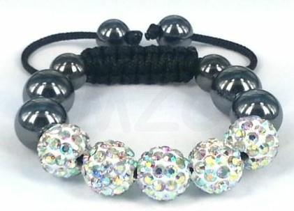 Free Shipping! 10mm 5 micro pave CZ Disco Ball Beads clay crystal Crystal Bracelet.DVS Black string women gift hot sale!
