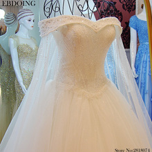 EBDOING Luxury A-line Wedding Dress Boat Neck Royal Train