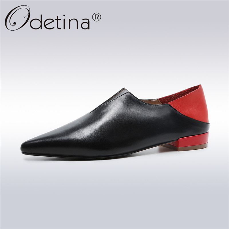 Odetina 2018 New Fashion Women Genuine Leather Pumps Square Low Heels Slip On Work Shoes Ladies Elegant Soft Pointed Toe Pumps цена 2017