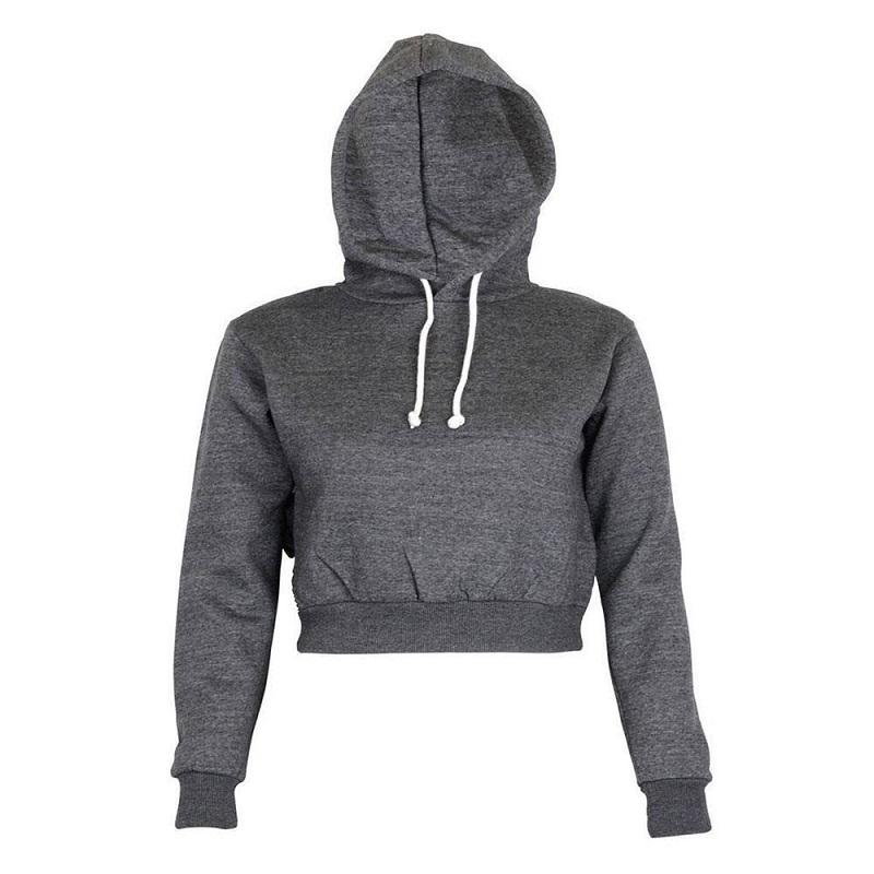 Fashion Women Sweatshirt 19 Hot Sale Hoodies Solid Crop Hoodie Long Sleeve Jumper Hooded Pullover Coat Casual Sweatshirt Top 6