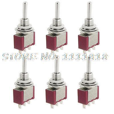 6 Pcs AC 250V 2A 120V 5A on-off-on SPDT 3 Pins Miniature Momentary Toggle Switch 5 x on off small toggle switch miniature spst 6mm ac250v 3a 120v 5a