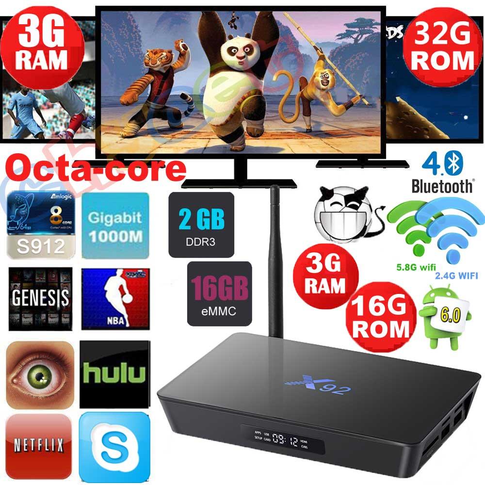 ФОТО X92 2GB 16GB 3GB 16GB 32GB Android 6.0 Smart TV Box Amlogic S912 Octa Core 2.4G 5G Wifi 4K 3D H.265 Media player Set Top Box