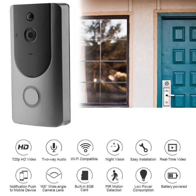 VAKIND Wireless Doorbell Ring Chime Door Bell Bi-directional Audio Video Camera WiFi IP 720P IR Night Vision Two Way Audio цена 2017