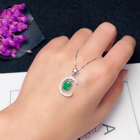 Arabian Style Star Moon Pendant with Emerald 5 mm * 7 mm Natural Emerald Pendant Soldi 925 Silver Emerald Jewelry