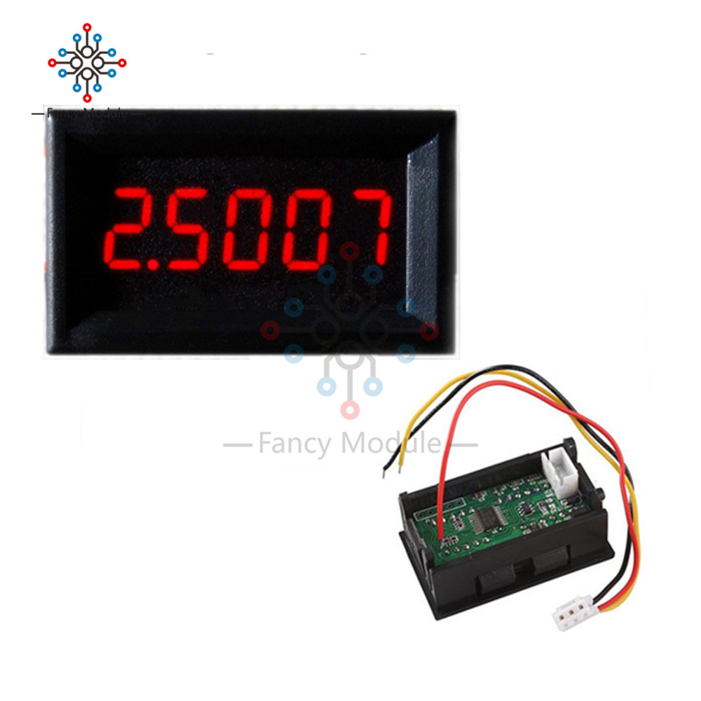 Red Blue Yellow 5 Digit LED DC 0-4.3000-33.000V Digital Voltage Panel Voltmeter