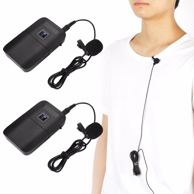 2/Set Wireless VHF Microphone System Receiver Transmitter Lavalier Lapel Microphone Receivers with LED Screen Display