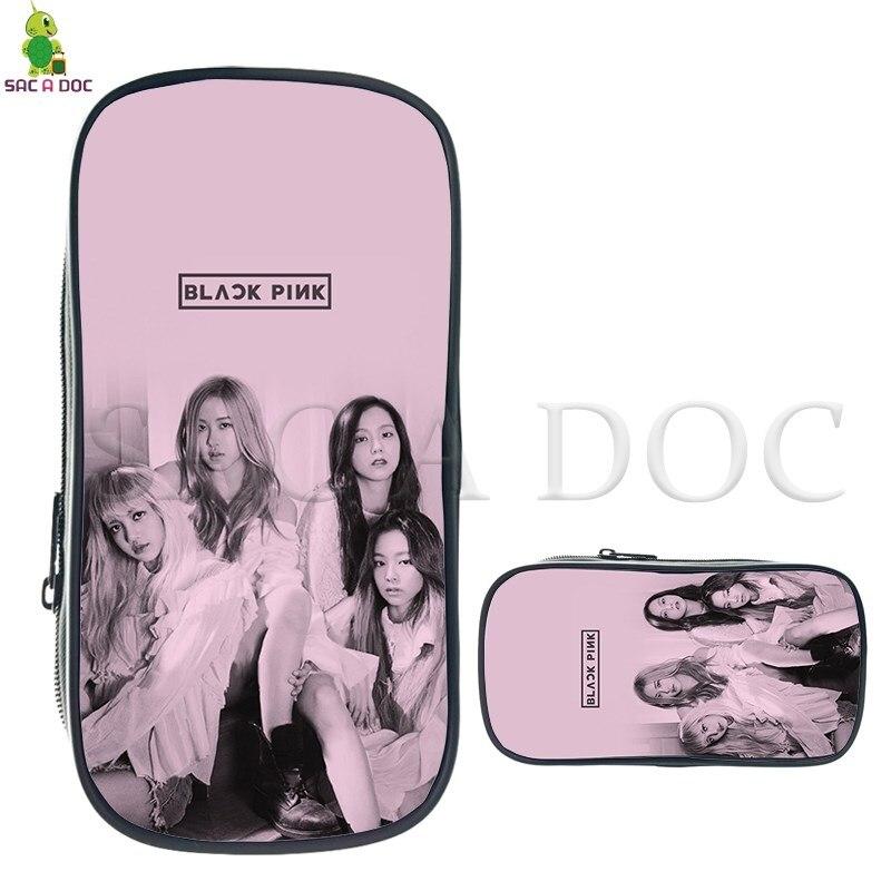 Kpop Blackpink Jisoo/Jennie/Rose/Lisa Material Escolar Caixa de Lápis Grande Capacidade de Cosméticos Saco De Crianças de Moda Maquiagem sacos