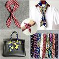 Fashion Tie Scarfpolyester thin scarves satin Digital Printing small handbag ribbon twilly girls occupational headband arm towel