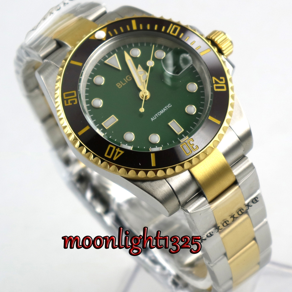 Golden plated BLIGER 40mm Green dial sapphire glass ceramic Automatic movement mens watch menGolden plated BLIGER 40mm Green dial sapphire glass ceramic Automatic movement mens watch men