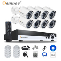 Einnov POE Security Camera CCTV System IR Night Vision 8ch 1080P NVR Kit 8pcs Outdoor Poe