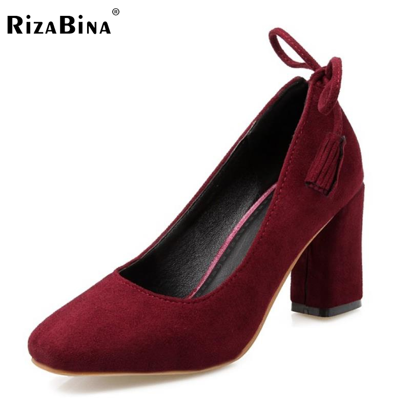 Size 33-45 Ladies High Heel Shoes Women Slip-On Square Heel Pumps Classic Simple Female Round Toe Tassel Casual Office Shoes тилибом водный пистолет с помпой 52х24 см