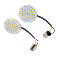 2pcs 2'' LED Turn Signal Running Light 1157 LED Insert Amber/White For Harley Touring Blackline Fatboy Sportster 883 Road King