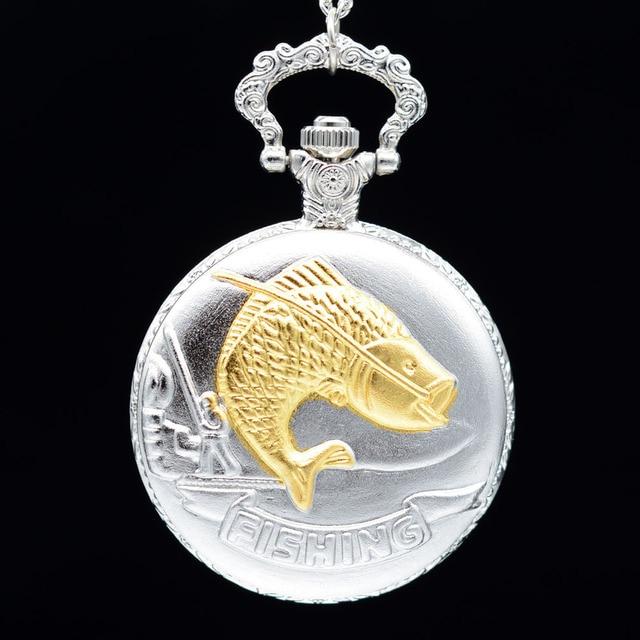 New Fashion Silver FISHING Golden Fish Quartz Pocket Watch Analog Pendant Neckla