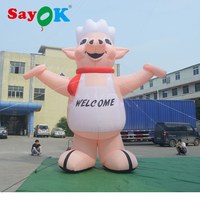 Sayok Giant Inflatable Piggy Pink Pig 5m/16.5ft H Oxford Fabric Outdoor for Advertising Promotion Festive Party Decoration