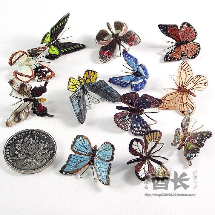 mini pvc figure Genuine simulation model toy butterfly 6PCS/ set
