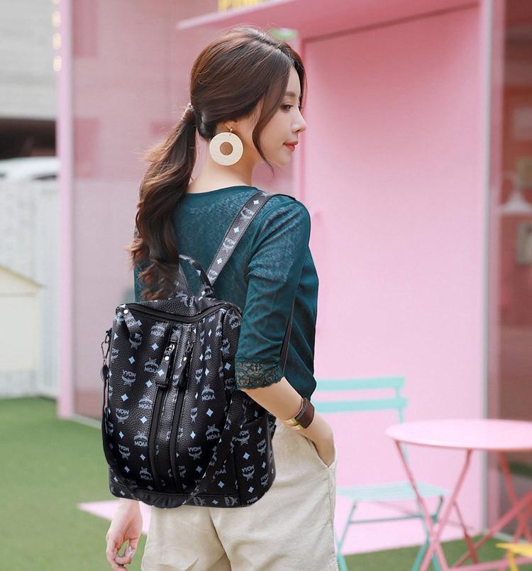 Women Fashion PU Backpack Girls Soft Leather Printed Shoulder Bag Ladies large fashion female Bagpacks for School Teenager Brown (11)