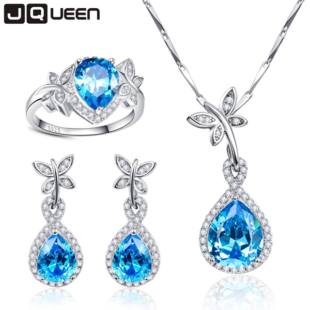 Promotion Wedding Jewelry Sets For Brides 925 Sterling Silver Blue Topaz Drop Earrings Ring Necklace