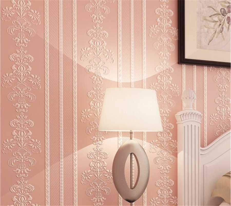 Beibehang Simple European Stereo Striped Embossed 3D Wallpaper Stylish Luxury Bedroom Living Room Background Desktop Wallpaper