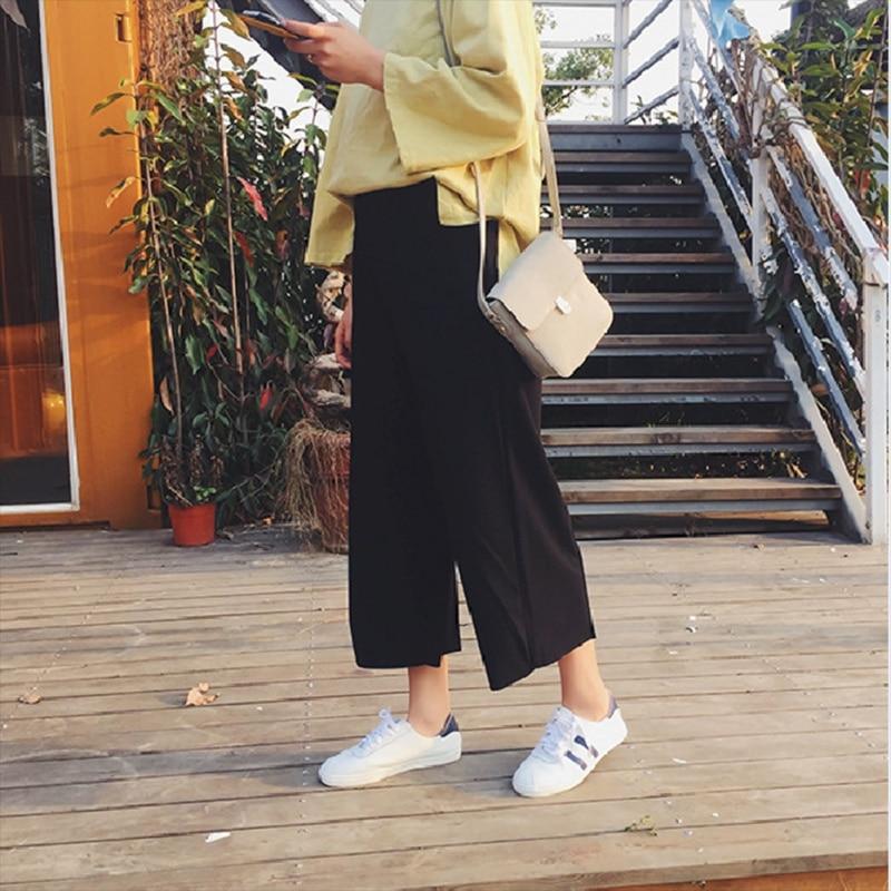 *Plus Size Spring Summer Women's Korean Elastic Waist Seven Points Wide Leg Pants*