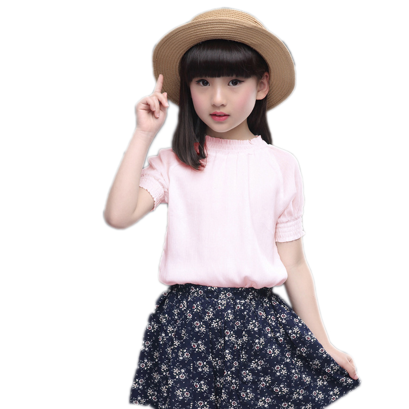 kids clothes 2017 new summer children clothing sets top short sleeve solid t shirt+floral printed skirt 2pcs summer suit girls