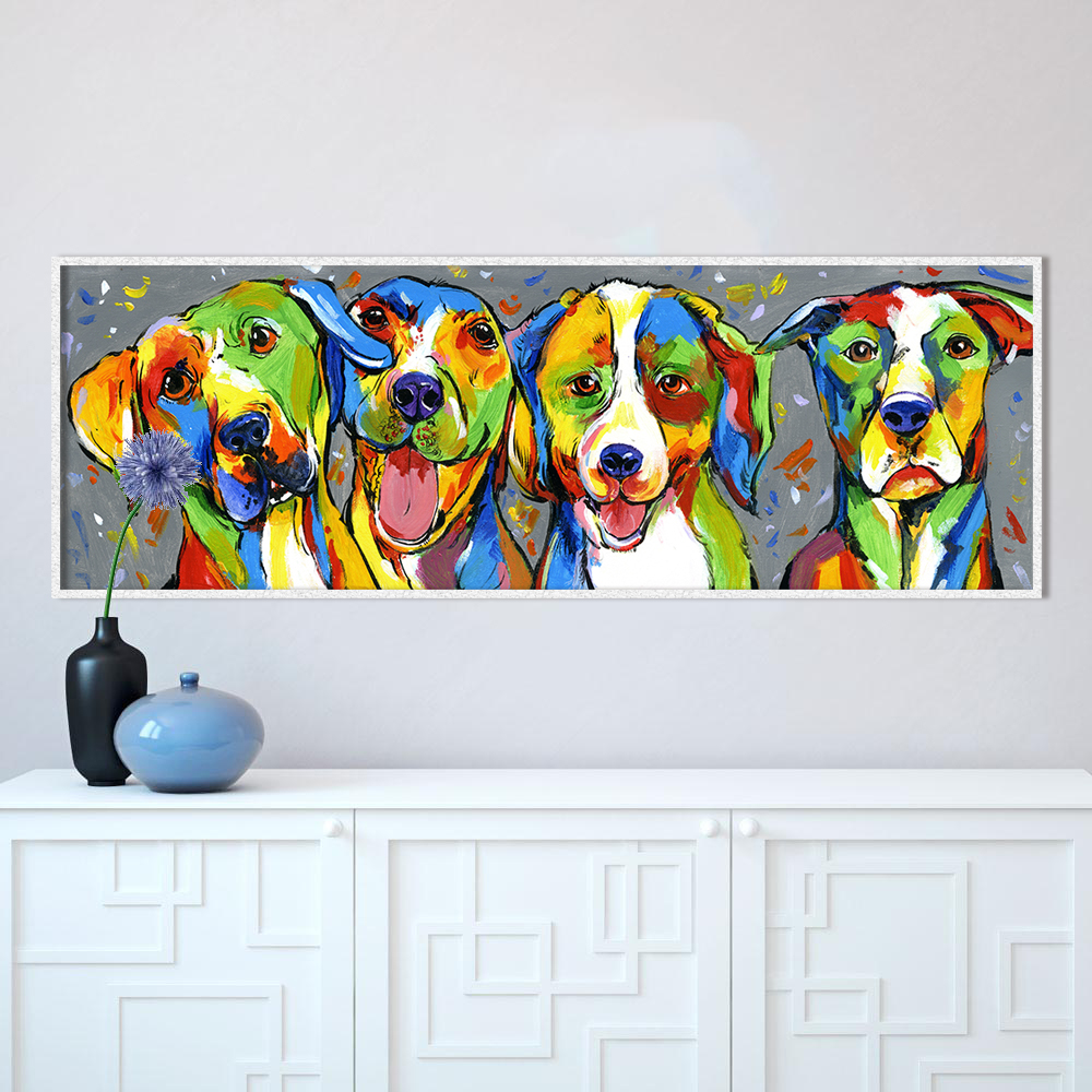 HDARTISAN Wall Art Animal Oil Painting Dog Canvas Picture For Living Room Puppy Friendship Home Decor No Frame