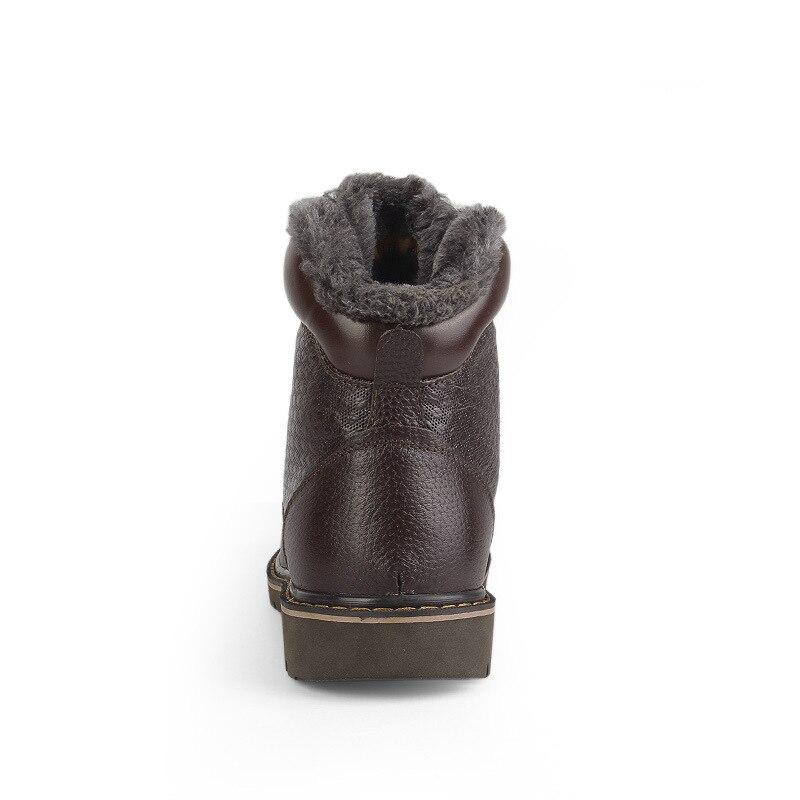Hombres Botas Tobillo Negro Vintage Invierno Cuero Zapatos Tamaños Oudiniao Vaca Genuino Moda marrón Casuales Grande De aUndWHwgRq