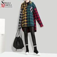 New 2017 Korean Style Autumn Women Multicolor Plaid Shirt Blouse Turn Down Collar Girls Casual Wear