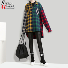 New 2017 Korean Style Autumn Women Multicolor Plaid Shirt Blouse Turn Down Collar Girls Casual Wear Hit Color Checker Shirt