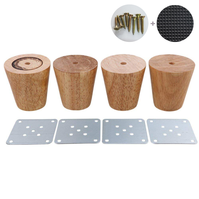 4 Piece 6cm Furniture Parts Sofa Legs Solid Wood Tapered Reliable Tea Table