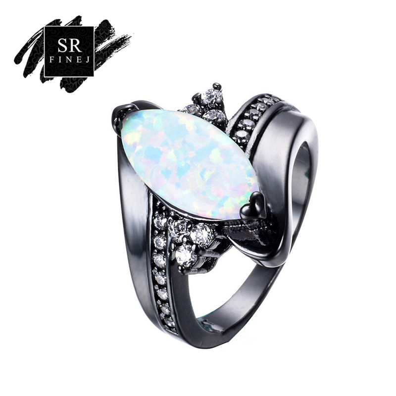 SR: finej Лидер продаж Мода Черное золото Цвет кольцо для свадебных украшений Радуга огненный опал Кольца Для женщин партии Обручение Promise Ring