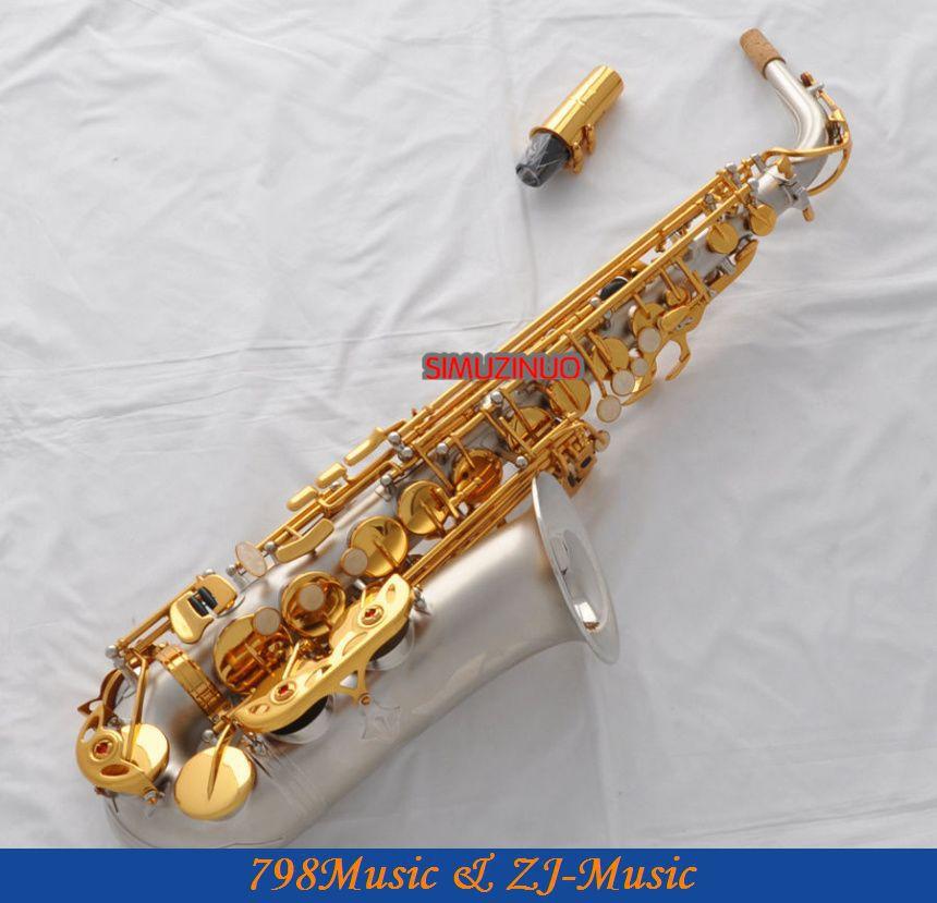 Satin Nickel Eb Alto Saxophone Sax Gold Key High F# Saxofon New Case professional rose gold alto sax eb saxophone abalone shell key with case