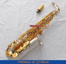 Satin Nickel Eb Alto Saxophone Sax Gold Key High F# Saxofon New Case