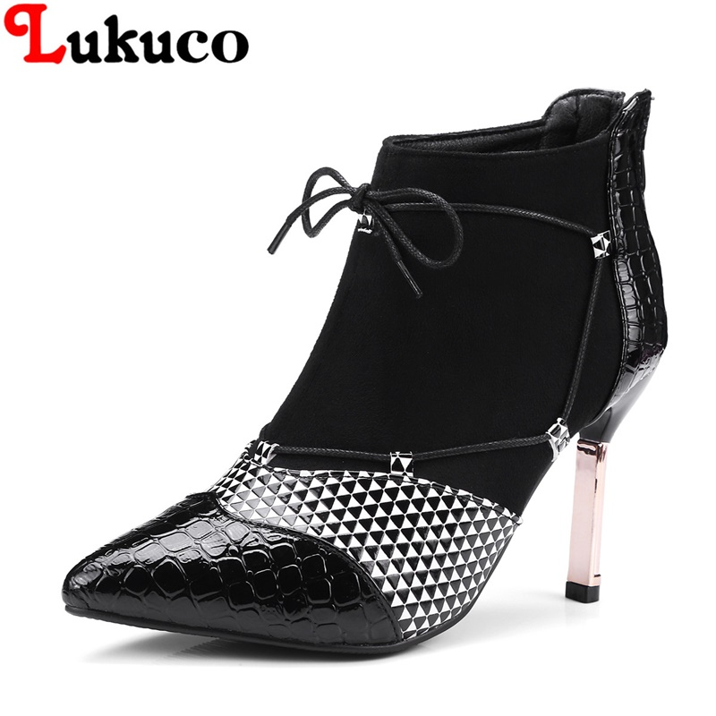2018 popular lady ankle boots large CN size 36 37 38 39 40 41 42 43 pointed toe design women Boots real pictures free shipping
