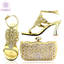 Shoe African-Shoes Wedding High-Quality Gold-Color with Bag-Set Women And To Match