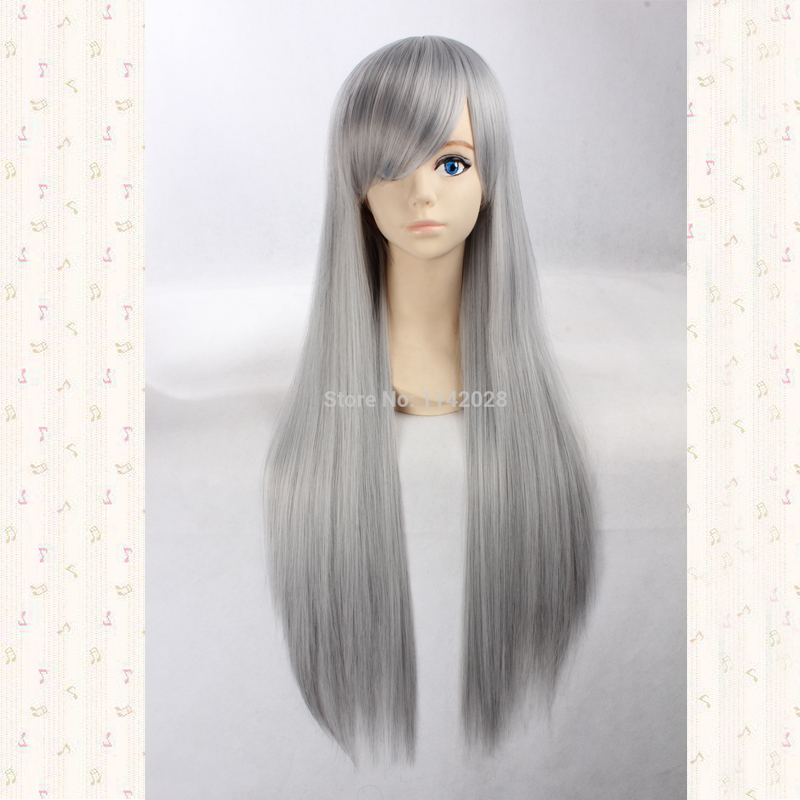 Sephiroth 80cm Silvery Grey Long Straight Inclined Bangs Synthetic Hair Cosplay Wig + Wig Cap