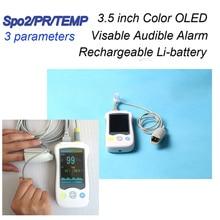 Sıcaklık ile 3.5 inç Renkli TFT Ekran El Pulse Oksimetre SPO2 Nabız Hızı Kan Oksijen Monitör Oksimetre