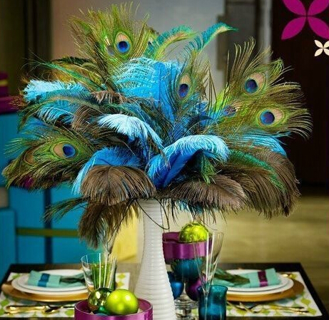 50pcspack Beautiful Natural Peacock Tail Feathers 25 30cm 10