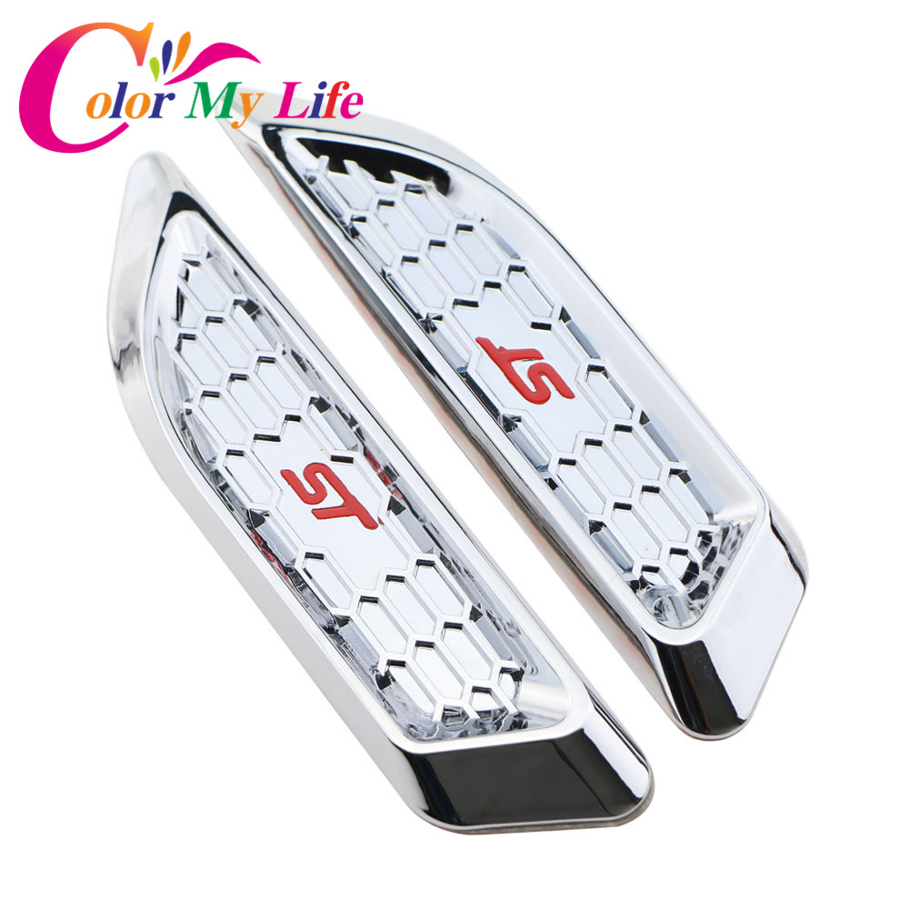 Color My Life Car ST Side Fender Sticker for Ford Focus 2 3 4 MK2 MK3 Fiesta Mondeo Escape Kuga EcoSport Explorer Edge Fusion
