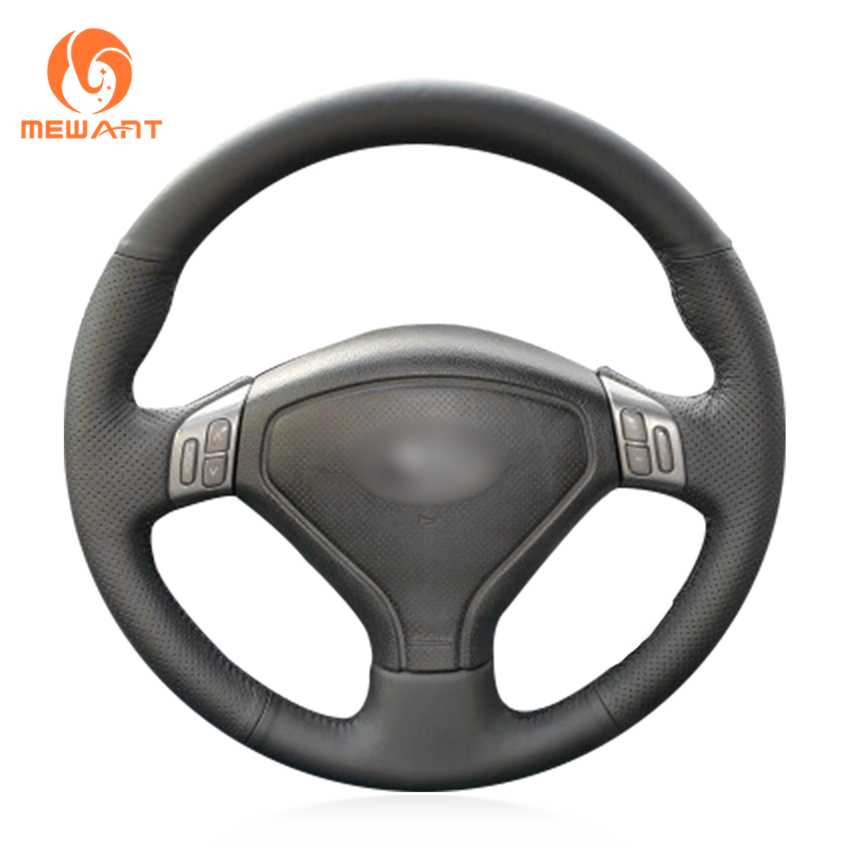 MEWANT Black Genuine Leather Car Steering Wheel Cover for Subaru Forester 2004-2006 Outback 2004 2005 Legacy 2004-2006 top cowhide sew on all black genuine leather steering wheel cover for subaru forester at